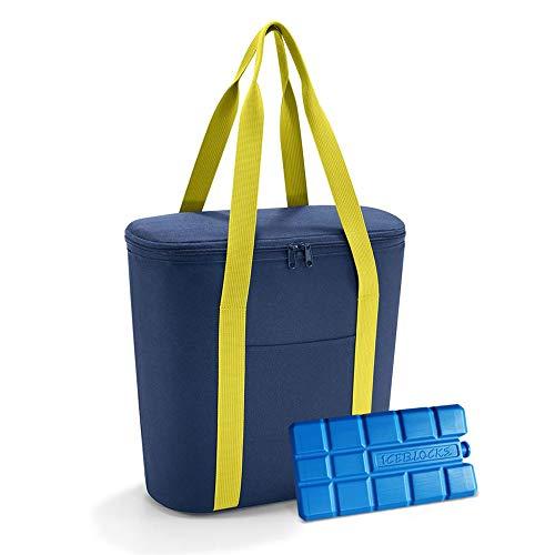 reisenthel thermoshopper mit Kühlakku - isolierte Kühltasche im modischen Shopper-Design, robust, wasserabweisend, mit Reißverschluss - 38 x 35 x 16 cm, Volumen: 15 l - Exklusives Set, Navy (4005)