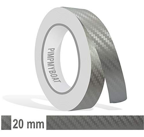 Siviwonder Zierstreifen Silber Carbon Glanz in 20mm Breite und 10 m Länge für Auto Boot Jetski Modellbau Klebeband Dekorstreifen