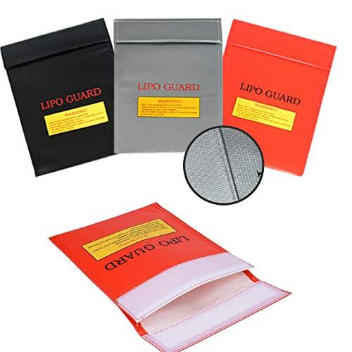 Bolsa Li-Po Batería,Jicyor 3pcs Resistente Altas Temperaturas Explosiones Ignífuga Seguridad Incombustible Li-Po Bolsas Prueba Fuego para Objetos Valor Dinero Joyas Pasaporte Documentos