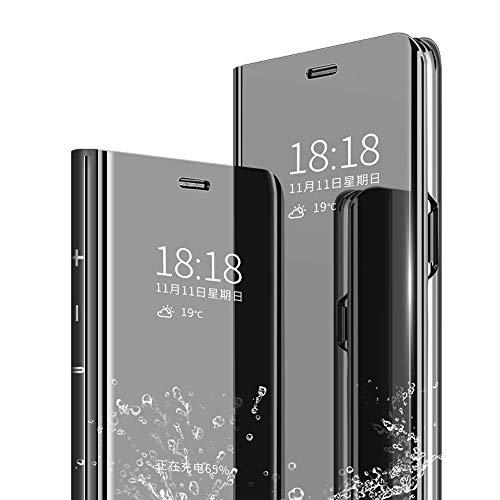 KETEEN Hülle für Xiaomi Mi 9 SE, Handyhülle Spiegel Schutzhülle Standfunktion Flip Tasche Hülle Mirror Cover Clear View Leder Hülle Kompatibel mit Xiaomi Mi 9 SE, Schwarz