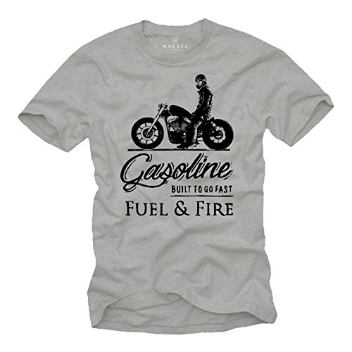 Camiseta Sons of Anarchy - Vintage T-Shirt de Motos - Regalos Originales Hombre Gris L