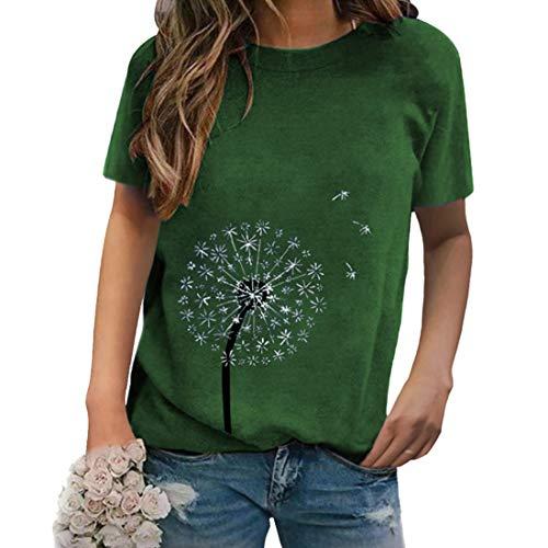 Sommer Damen 3D Druckten Sommer-beiläufige Kurze Hülsen-T-Shirts Tops T-Shirt beiläufige KurzäRmelige Rundhals LöWenzahn Shirt Modisch Kurzarmshirt Tunika Tops Oberteile Blusen