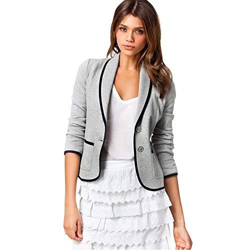 TOPKEAL Jacke Mantel Damen Langarm Kleine Anzugsjacke mit Revers Sweatshirt Übergangsjacke Steppjacke Kapuzenjacke Pullover Kurz Outwear Coats (Grau, L)
