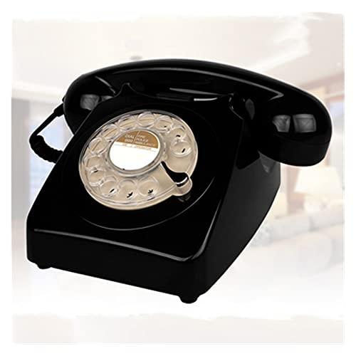 BTMING GirR dial Vintage Rosa begie Negro teléfono Fijo teléfono plástico casa Oficina Retro Alambre Fijo teléfono Fijo Europa Estilo (Color : Negro)