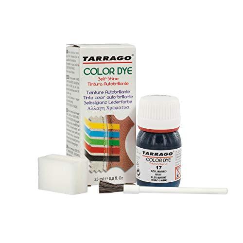 Tarrago | Self Shine Color Dye 25 ml | Tinte Para Cuero y Lona de Acabado Brillante | Teñir Zapatos y Accesorios | Tintura de Secado Rápido Para Reparar el Calzado | Anti Rozaduras | Color Azul Marino