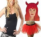 FashioN HuB Falda de tutú para mujer, con diseño de diablo, disfraz grande y grande