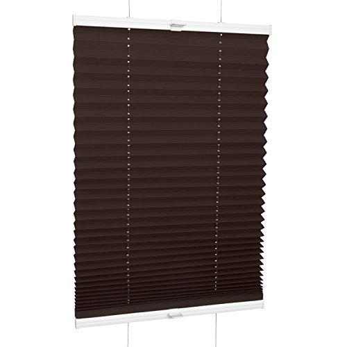 Rolmaxxx ROLLMAXXX Plissee Faltstore Faltrollo Rollo Fensterrollo Klemmfix ohne Bohren (130 x 160 cm, Braun)