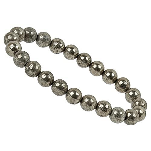 ELEDORO Pulsera elástica de perlas de piedras preciosas de 8 mm, para mujer