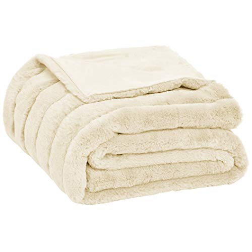 AmazonBasics Faux Fur Striped Throw Blanket - 50 x 60 Inch, Ivory