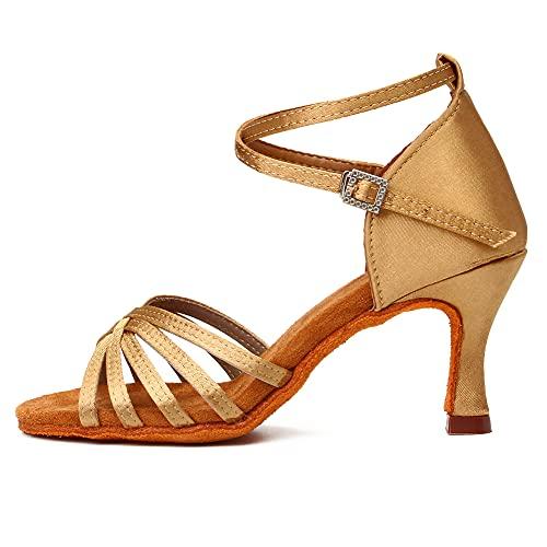 DKZSYIM Women's Beige Satin Latin Dance Shoes Ballroom Salsa Performance Dancing Shoes,Model 213-7, 8 B(M) US