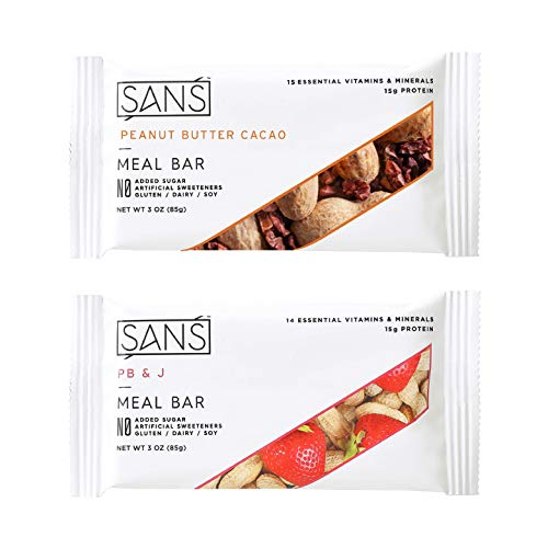 SANS Peanut Butter Lovers Variety Meal Replacement Protein Bar | All-Natural Nutrition Bar With No Added Sugar