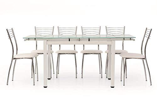 Milani Home s.r.l.s. Tavolo da Pranzo Moderno di Design Allungabile Bianco con Piano in Vetro 70 X 110/140/170 per Interno Sala da Pranzo Cucina