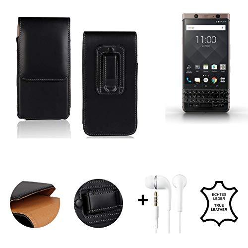 K-S-Trade® Leder Gürtel Tasche + Kopfhörer Für BlackBerry KEYone Bronze Edition Seitentasche Belt Pouch Holster Handy-Hülle Gürteltasche Schutz-Hülle Etui Schwarz 1x