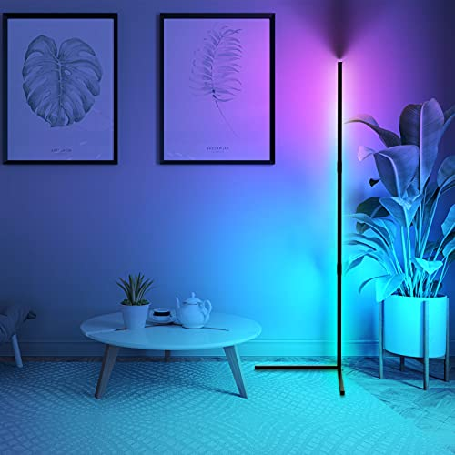 Minimalist Led Corner Floor Lamp UK RGB Colour Changing, 20W Standing Corner Mood Light, Dimmable & Memory, 51.5'' Tall Modern Floor Lamps Atmosphere Night Light for Living Room, Bedroom, Gaming Room