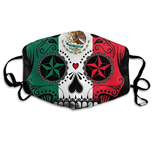 Mexico Vlag Suiker Schedel Unisex Volledige Dekking Buis Gezicht Masker Bandanas UV Bescherming Hals Gaiter Hoofdband