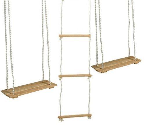 Equilibre et Aventure Lot Complet 2 balançoires en Bois rectangulaires + 1 échelle de Corde à 5 barreaux pour Tout portique Standard
