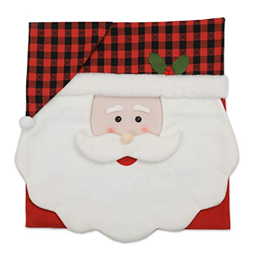 Kiorc Xmas Chair Cap Santa Claus Red Flip Hat Snowflake Plaid Dinner Chair Back Covers