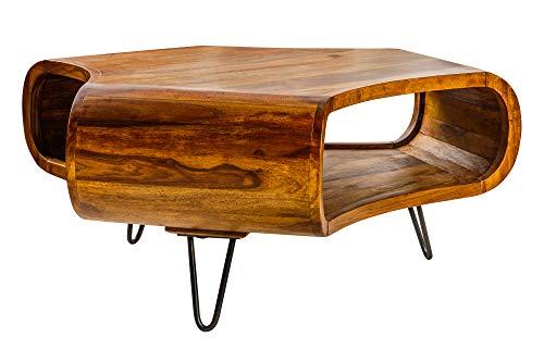 DuNord Design Couchtisch Massivholz Sheesham Natur 90cm Metall schwarz