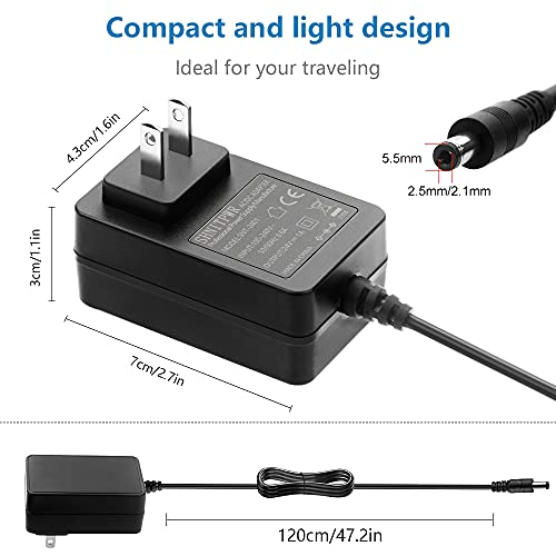 SHNITPWR 24V Power Supply 1A 24W Power Adapter 100V~240V AC to DC Converter 24 Volt 0.8A 0.65A 0.5A Transformer 10 Tips 5.5x2.5 5.5x1.7 5.5x3.0 6.3x3.0 4.8x1.7 4.0x1.7 3.5x1.35 for Diffuser Humidifier
