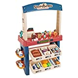 Kids Role Play Ice Cream Shop Toy Set, Shopping Toys Playset 55 Pieces Luxury Grocery Store With Scanner and Variety of Ice Cream, Desserts, and Other Kinds Of Ice Cream Product (Multicolor)