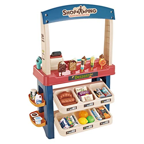 VEZARON US Fast Shipment Little Ice Cream Shop Sets, Kids Play Booth with Dessert Shelf Toy & Other Playset Accessories...