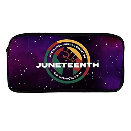 Black Proud African American for Junetenth - Estuche para lápices para adultos y niños, gran capacidad, con doble cremallera