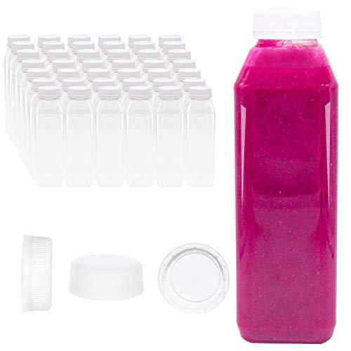 96 Pk of 12 oz Juice Bottles, Bulk 12 oz Empty Plastic Bottles with Lids, White Tamper Proof Caps (96, 12 oz)