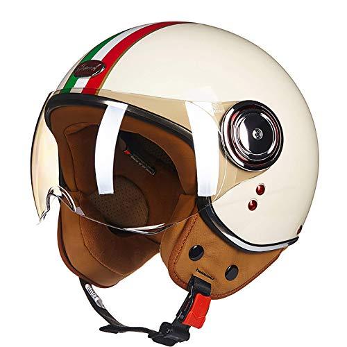 LAMZH Medio casco · motocicleta de cara abierta Jet Pilot Bike Moto Scooter Biker Retro Chopper Cruiser Vintage Bobber DOT/ECE aprobado, protección (color: C, tamaño: XL)
