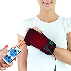 sticro Moist Heated Infrared Hand Wrist Brace Wrap for Pain Relief, Auto Off Full Heat Coverage 6 Settings Heating Pad for Left Right Hand Carpal Tunnel, Arthritis, Tendonitis