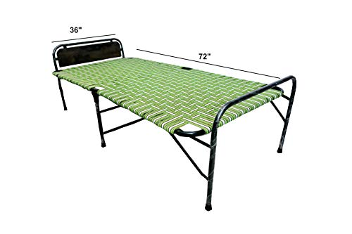 "PARVESH Smart niwar Folding Bed with Bed Head Size(36""x 72"") | Soft Cotton Quilted Mattress | Fiber Pillow (17""x 27"")"