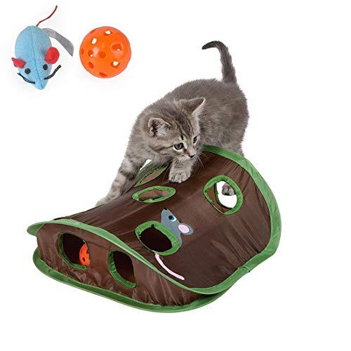 Cxjff Mäusejagd Katze Spielzeug, 9-Loch Hide & Seek Spiel Pop-up zusammenklappbares Puzzle Übungs-Spielzeug Pet Puzzle Spielzeug mit Mäusen und Bell Ball