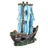 Balacoo Decoraciones de Naufragios para Acuario Ornamentos de Tanque de Peces Decoraciones de Resina Hundidas para Agua Dulce Decoraciones de Cueva de Peces Betta Acuario