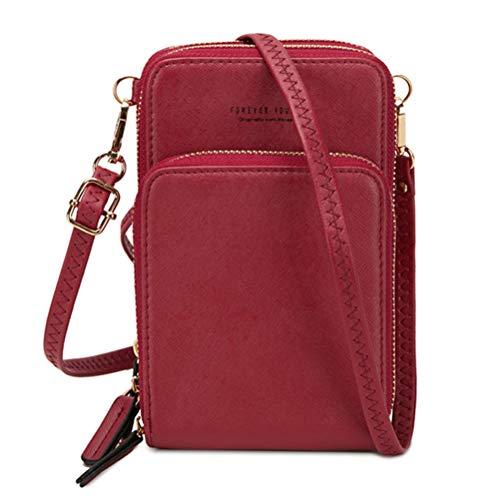 Damenhandtaschen,Umhängetasche Kunstleder, Damen Schultertasche, 3 Reißverschluss Universal Praktisch Beutel,Phone Tasche mit Vielen Fächern Kartenfach,Geldbörse Portemonnaie