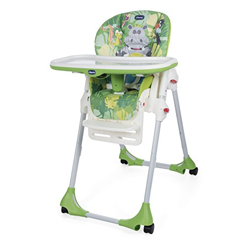 Chicco - Chaise Haute Bébé Polly Easy - 4 Roues - Réglable, Pratique et Compacte - Happy Jungle