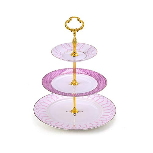 NCOEM English Afternoon Tea Snack Rack Double-tiered Tray Cake Rack European-style Two-tiered Tray Fruit Tray Sweet Time for Afternoon Tea Party (Color : Pink, Size : Three-layer)