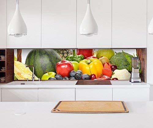 Aufkleber Küchenrückwand Obst Früchte Korb Gesundheit Küche Folie selbstklebend Dekofolie Fliesen Möbelfolie Spritzschutz 22A825, Höhe x Länge:60cm x 250cm