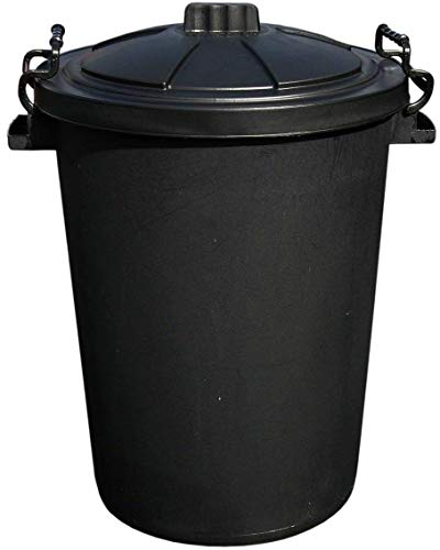 BLACK 50 Litre 50L Extra Large Heavy Duty Plastic Bin Dustbin Storage Unit with Locking Lid for Home Garden Rubbish Waste Animal Feed (1)