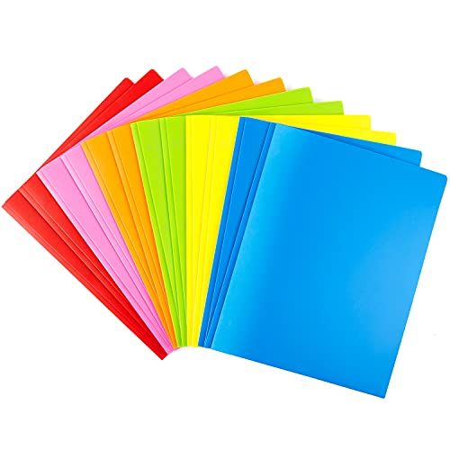 Plastic Folders with Pockets and Prongs 12PCS Heavy Duty Plastic Folders with Pockets Letter Size Assorted Colors for School Work and Home File Folder WOT I