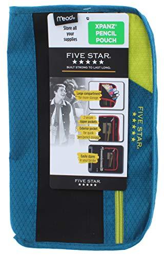 Five Star Xpanz Zipper Carrying Case/Pouch for Pencil, Pen, Supplies - Puncture Resistant, Dark Blue/Lime