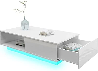 Rectangle Coffee Table High Gloss LED Storage Furniture with 1 Drawer White