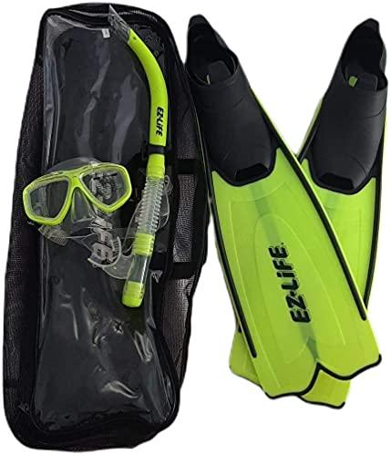 Kit, Juego para Snorkel, Snorkeling con Estuche, Set de Buceo con Aletas, Gafas y Tubo - Color Amarillo Fluor (S)