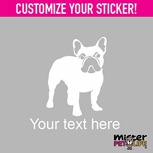 Mister Petlife Personalized French Bulldog Sticker Vinyl Chose Color Custom Made Frenchie White