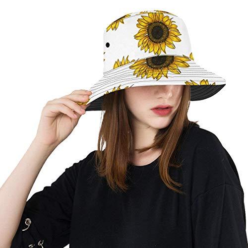 WYYWCY Riesen Sonnenhut Happy and Beautiful Sunflower Sommer Unisex Angeln Sun Top Eimer Hüte Für Jugendliche Frauen Fischer Kappe Outdoor Sport Packable Strand Hut