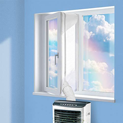 Fensterabdichtung Kein Bohren 400 CM für Mobile Klimageräte,Ablufttrockner,Passend zu Jedem Klimagerät und Allen Schlauchgrößen,mit Reißverschluss und Klettenband Weiß