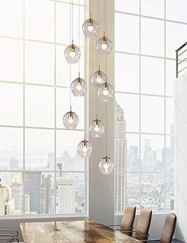 QTQZ 12 lámpara de Escalera de Bola de Cristal Larga lámpara de araña dúplex lámpara de araña de Gran Edificio Sala de Estar lámpara de Escalera Minimalista Moderna Hueca,Bronze