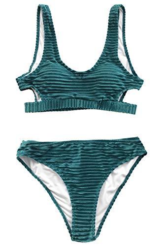 CUPSHE Smaragd Samt Solid Bikini, Grün, M