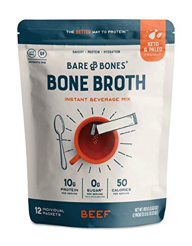 Bare Bones Bone Broth Instant Powdered Beverage Mix, Beef, 10g Protein, Keto & Paleo Friendly, 15g Sticks, Pack of 12 Servings