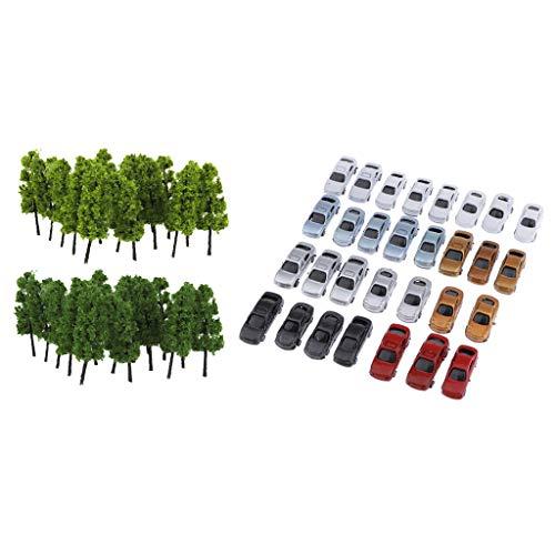 Tongina Z Gauge 30x Car Model & 20pcs Tree Mini Building Layout Accessory 1:200 Scale