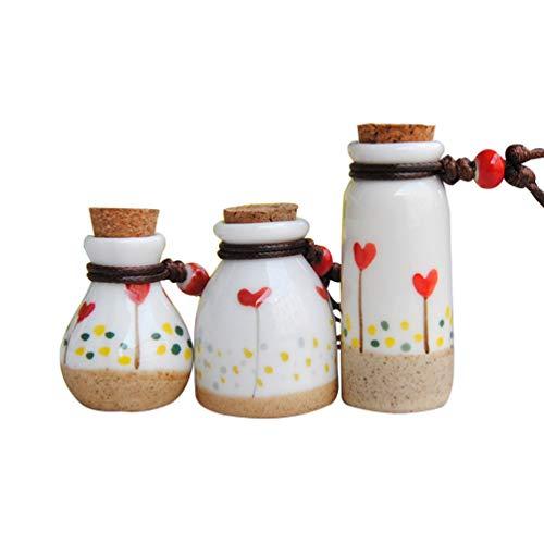 VOSAREA Gläser Der Keramischen Flaschenphiolen des Korkenstopfens 3Pcs mit Dem Korken Der Die Treibende Flaschenhochzeit Der Flasche Wünscht Bevorzugt Glashonigtopfflaschen für Schulhaus