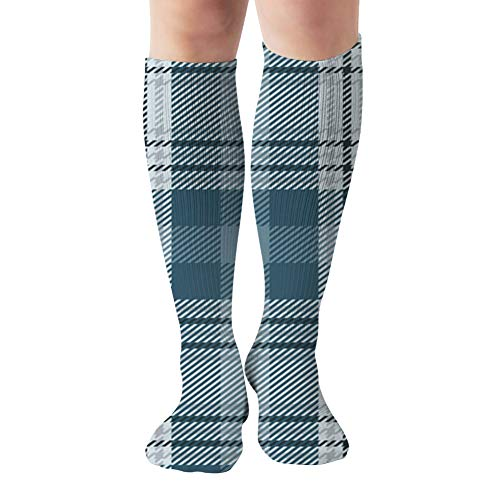 Blue Grey Plaid Flannel Shirt Abstract Beauty Fashion Compression Socks Women & Men, Best Athletic & Medical Running Flight Travel Pregnant 19.68 Inch